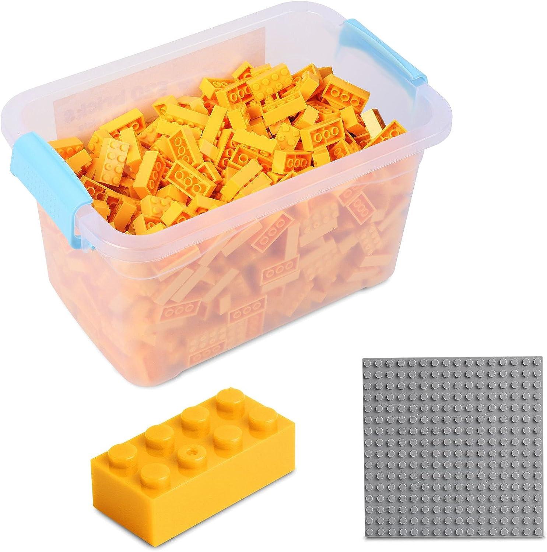 Katara Juego De 520 Ladrillos Creativos En Caja Con Placa De Construcción 100% Compatibles Con Lego Classic, Sluban, Papimax, Q-bricks, Color Amarillo (1827): Amazon.es: Juguetes y juegos