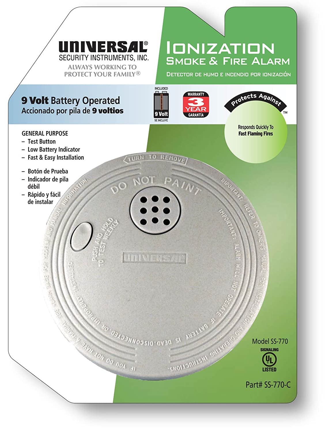Universal Security Instruments SS-770-C Battery Powered Ionization Smoke and Fire Alarm - Smoke Detectors - Amazon.com