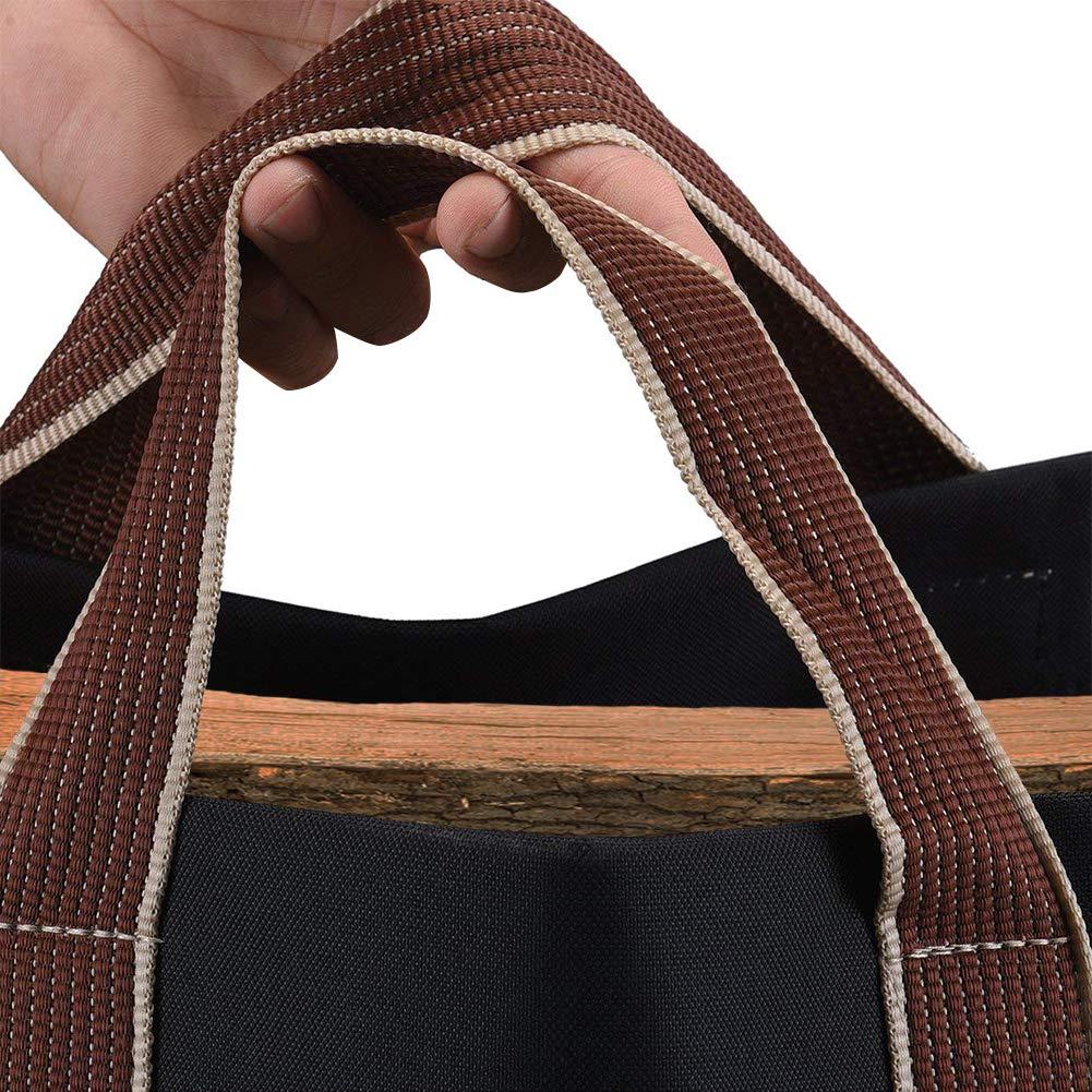 Bolsa de lona al aire libre, bolsa de almacenamiento de leña, bolsa de almacenamiento, bolsa, bolsa, almacenamiento de gran capacidad, negro: Amazon.es: ...