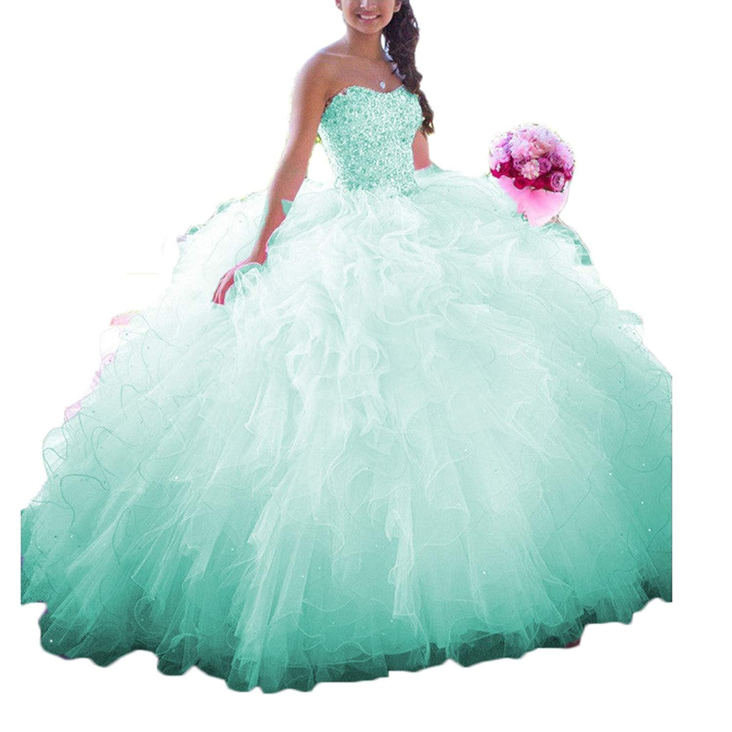 OkayBridal Womens Sweetheart Organza Quinceanera Dresses Beading Princess Sweet 16 Prom Party Ball Gowns OK0090