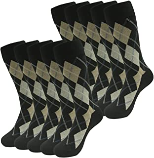 SUTTOS Men's 10 Pairs Cotton Funky Argyle Diamond Striped Long Crew Dress Socks 10 Pack ST016X10