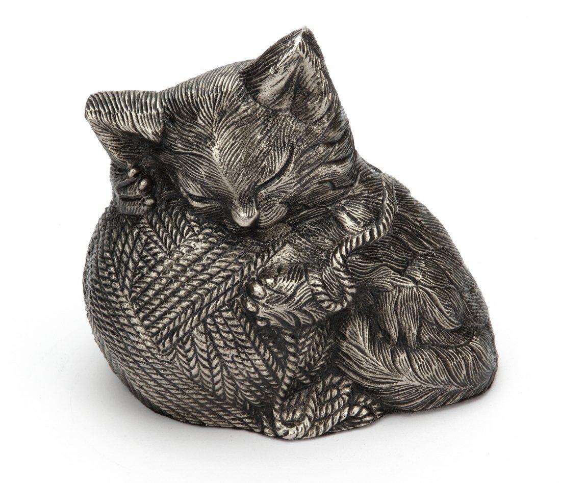 Urns UK Urne funéraire en aluminium en forme de chat (Argenté) UU510009B