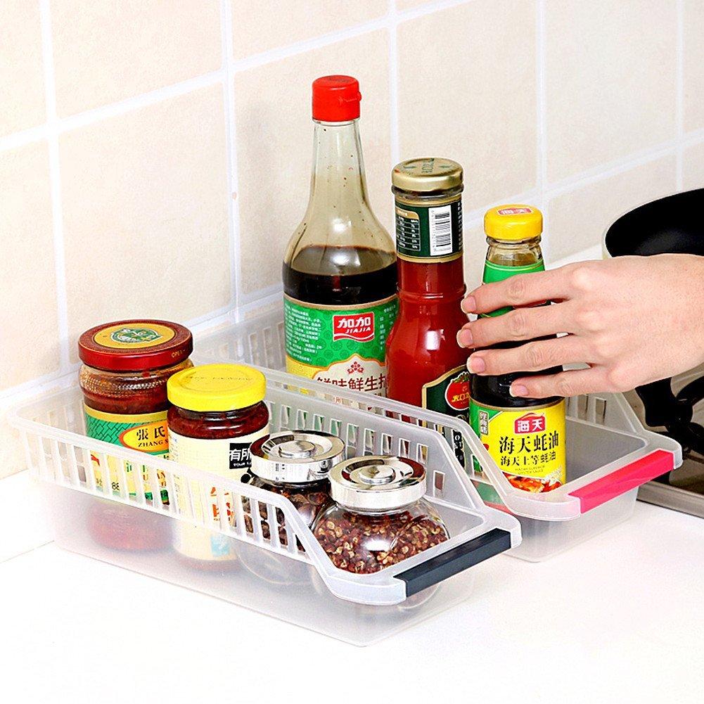 HapiLeap Refrigerator Durable Storage Organizer Fruit Handled Kitchen Collecting Box Basket Rack Stand Basket Container 2Pcs