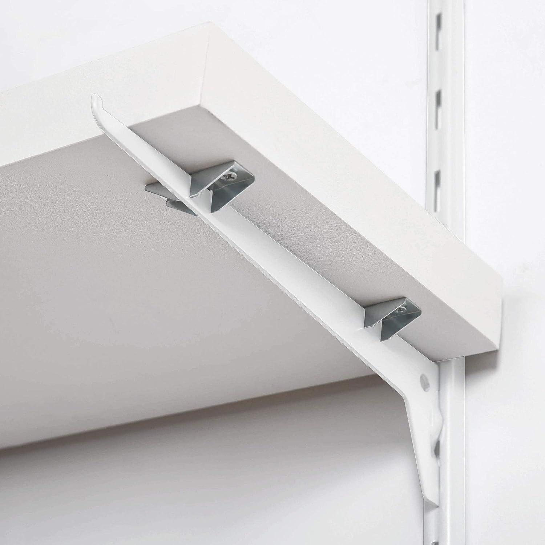 longueur: 600 mm Console simple pour cr/émaill/ère d/étag/ère Toolerando Support d/étag/ère murale console 1 rang/ée pour rail mural blanc