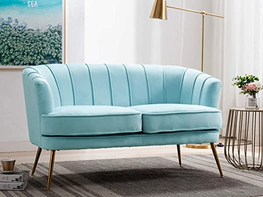 Amazon Com Altrobene Velvet Loveseat Sofas Curved Tufted Sofas With Golden Finished Metal Legs For Small Space Modern Couch For Home Office Living Room Bedroom Light Blue Kitchen Dining