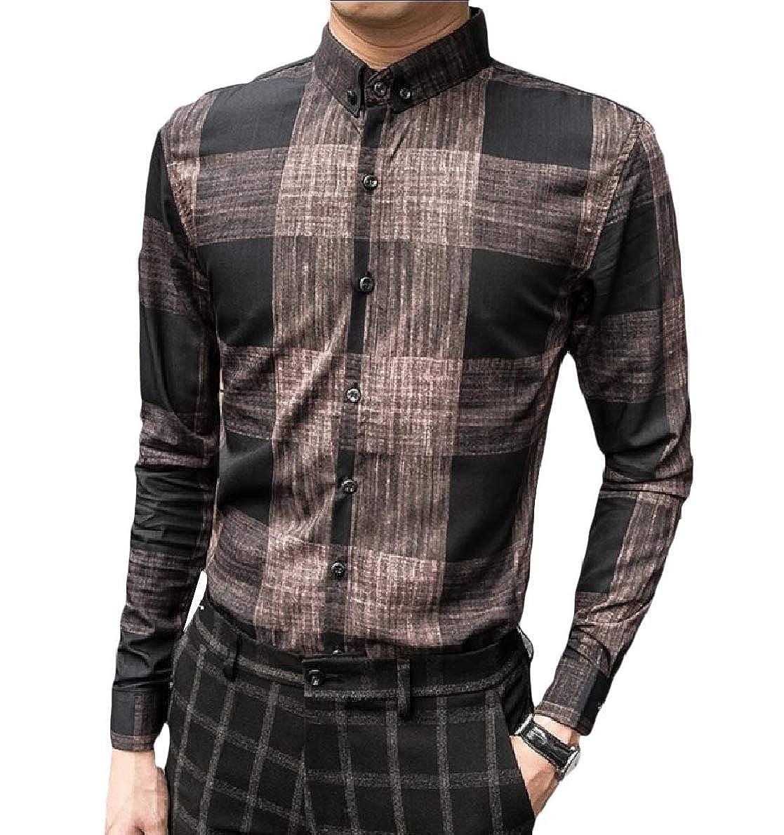 Highisa Men Plaid Casual Loose Premium Select Long Sleeve Fit Woven Shirt
