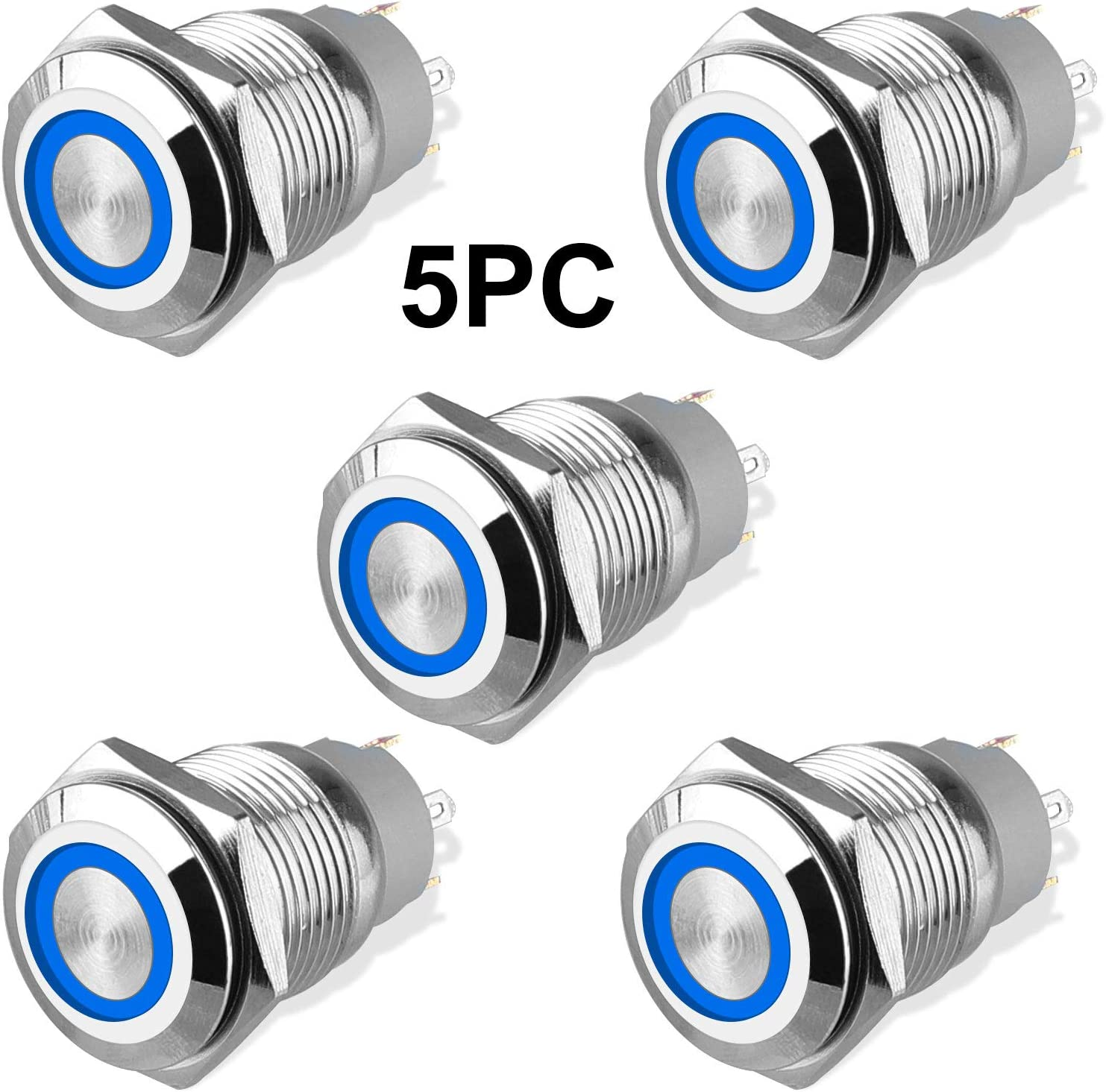 5Pcs 16mm Metal Latching Push Button Switch with Blue LED Light DC 12V/24V, LINKSTYLE ON/OFF 4 Pin Self-Locking Round Waterproof Marine Switch for Car RV Truck Boat SPDT