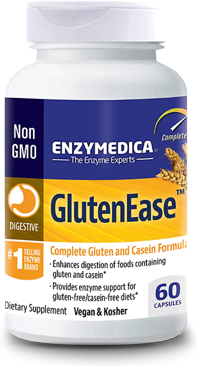 Enzymedica, GlutenEase, Digestive Aid for Gluten and Casein Digestion, Vegan, Non-GMO, 60 capsules (60 servings)