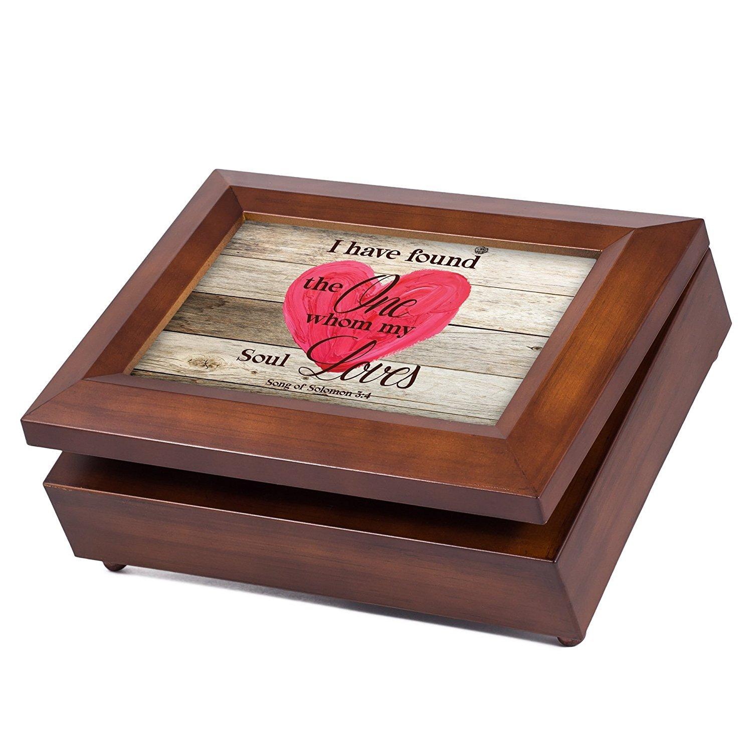 My Soul Loves Heart Song of Solomon 3:4 Wood Finish Jewelry Music Box Plays You are My Sunshine