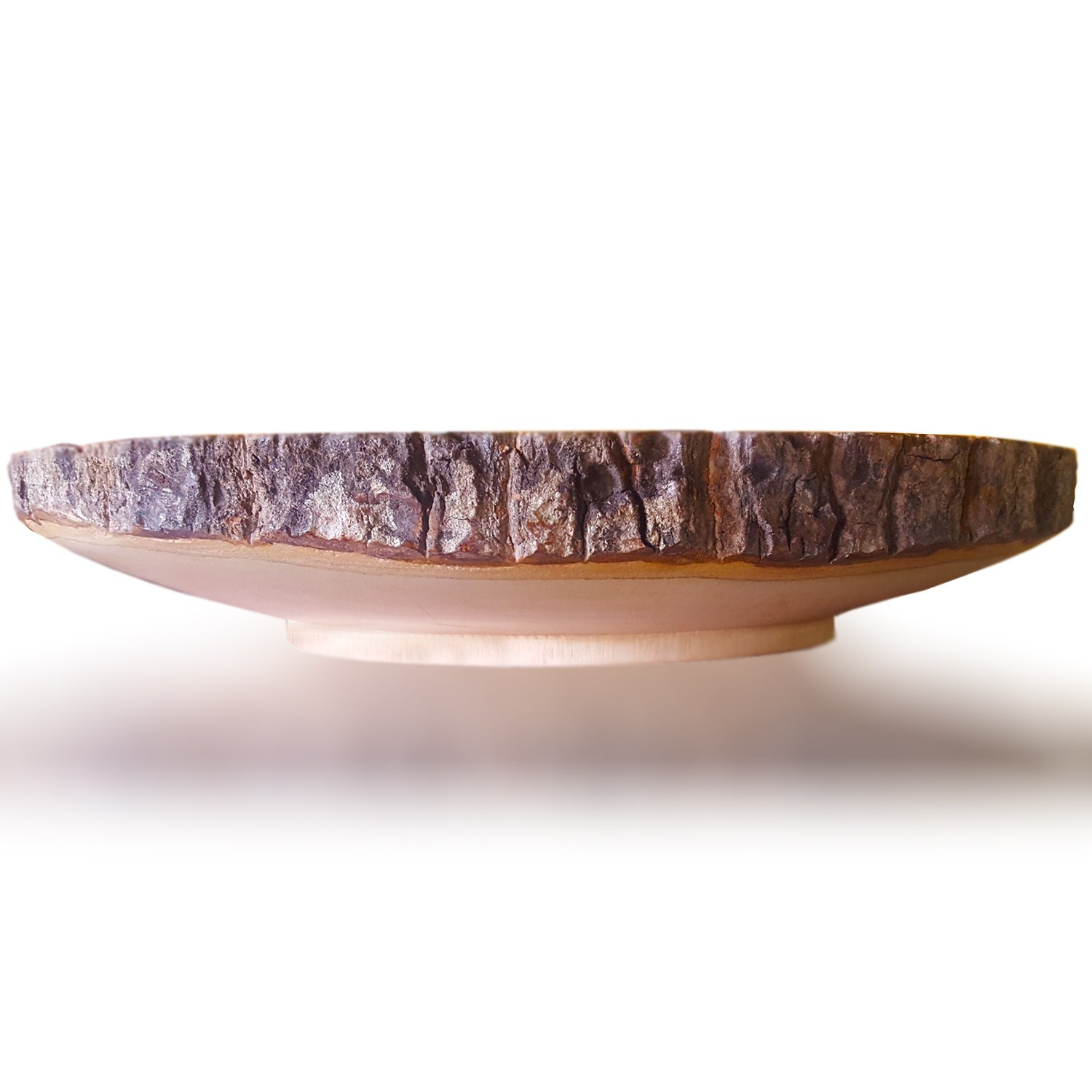 RoRo 12 Inch Handcarved Circular Wood Cake and Pie Stand Display with Bark