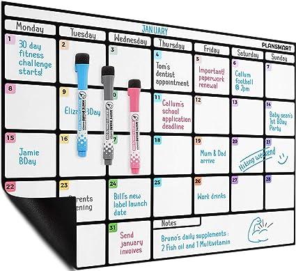 Calendario de pizarra blanca magnética de borrado en seco de 43 x ...