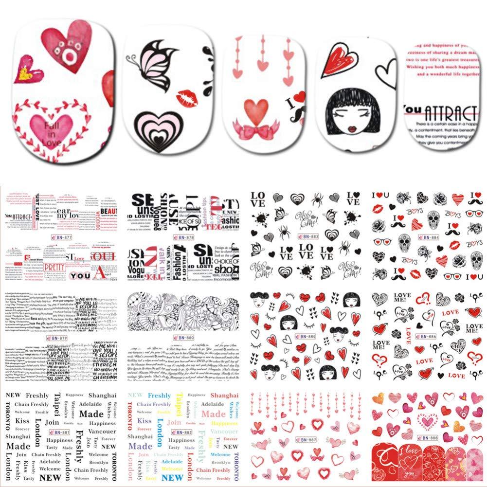 RXBGPZZJT Pegatina de uñas 12 Diseños Nail Slider Etiqueta de ...