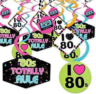 product image for 80's Retro - Totally 1980s Party Hanging Decor - Party Decoration Swirls - Set of 40
