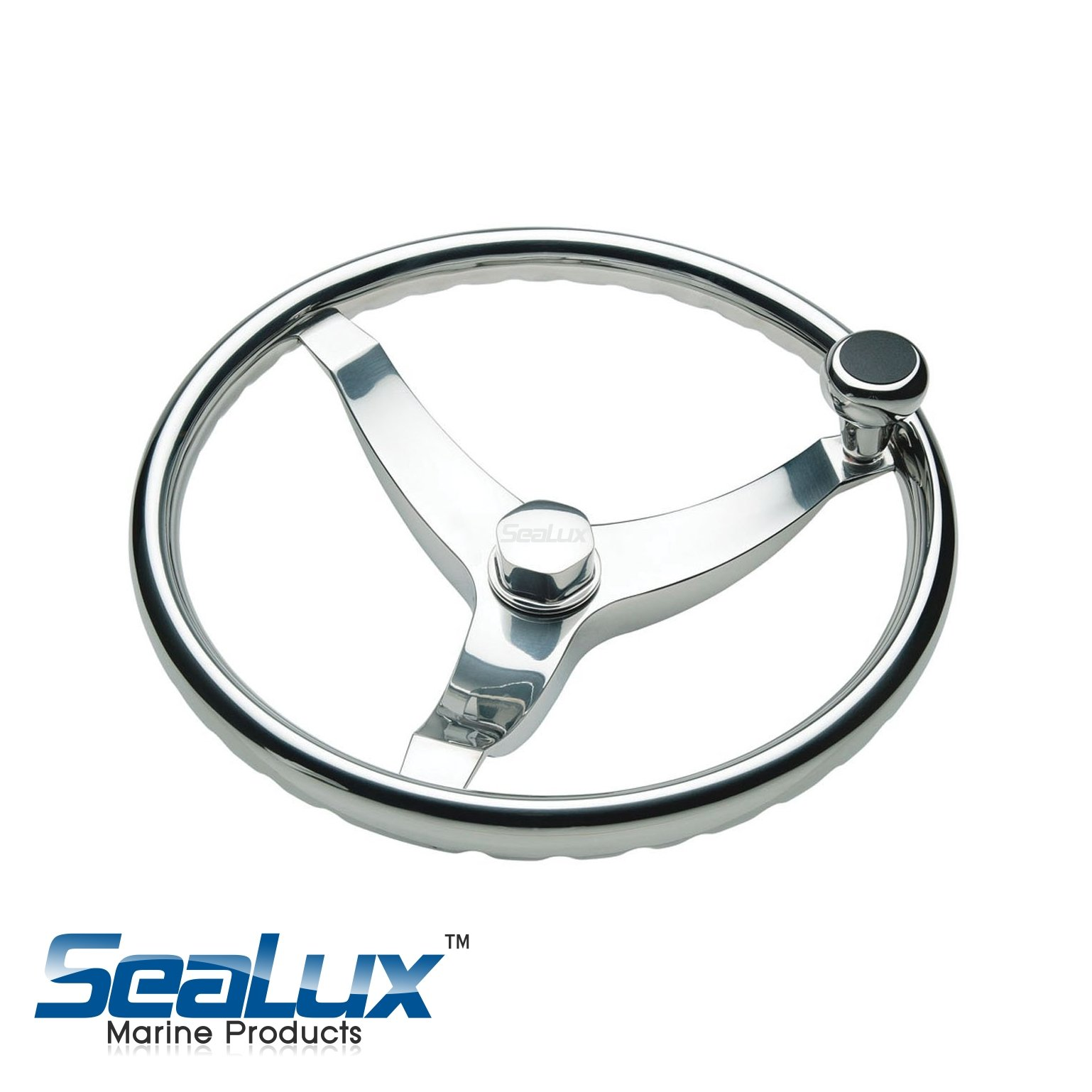 Vision Cast 316 Stainless Steel Steering Wheel With Knob - 13 1/2 dia.