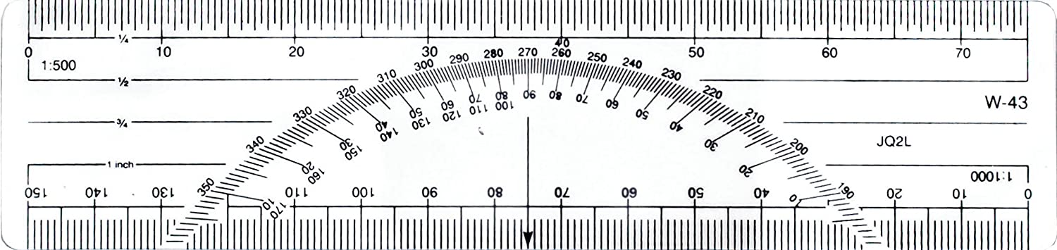 Regla 6 pulgadas Metric Protractor Ruler (W-43 BP)