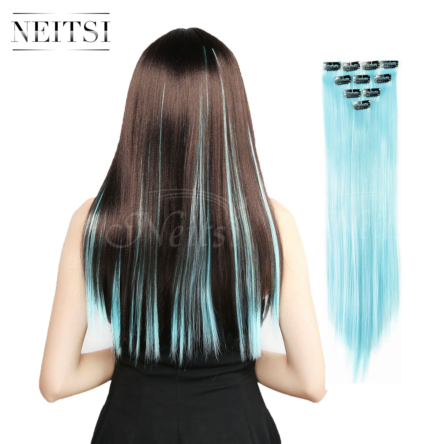 Neitsi 10pcs 18inch Colored Highlight Synthetic Clip on in Hair Extensions #F14 Blue LTD