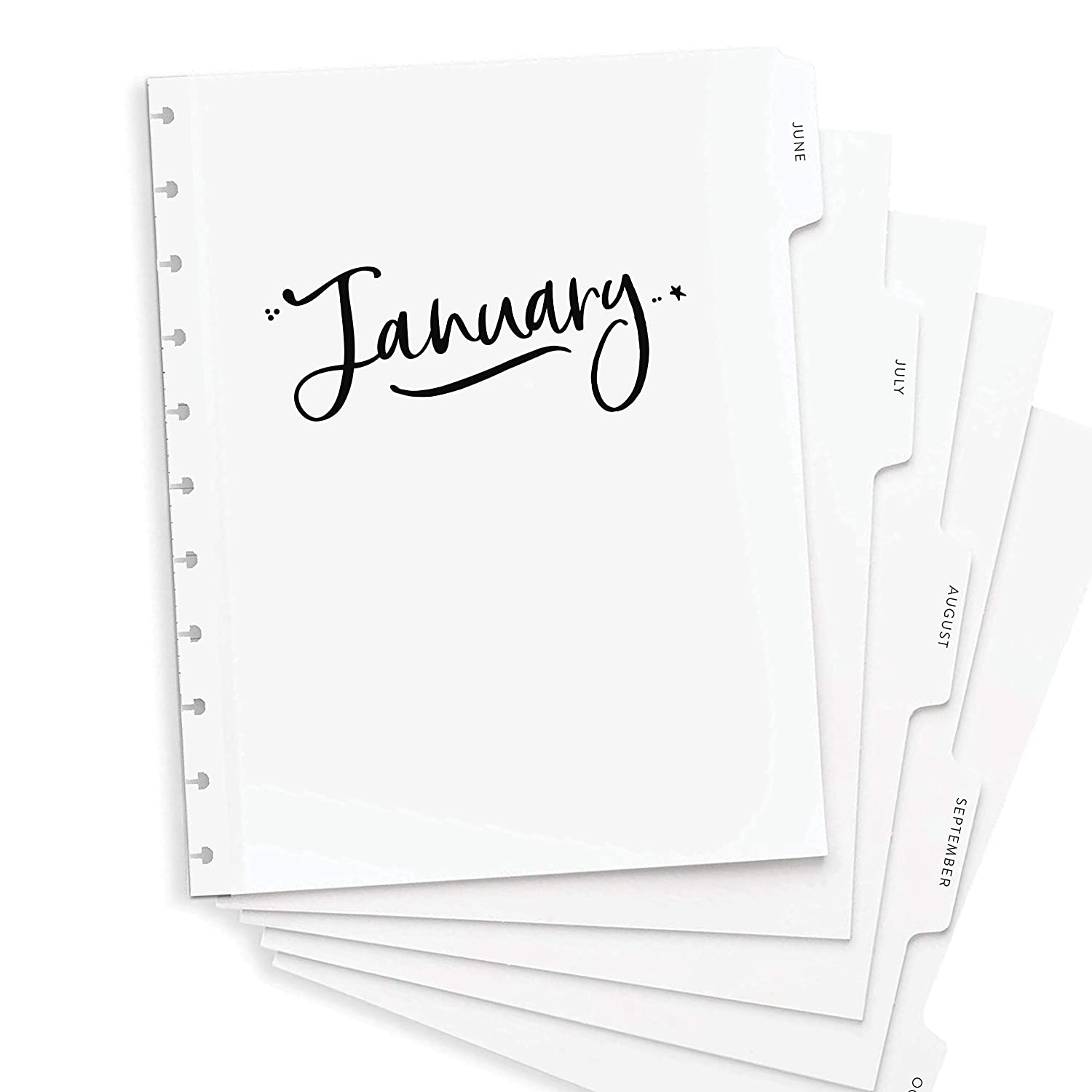 """BetterNote 2021 Monthly Calendar Tabbed Dividers for Discbound Planners, 11-Disc Notebook, Fits Circa Letter, Arc by Staples, TUL by Office Depot, Letter Size 8.5""""x11"""" Whimsy (Planner Not Included)"""