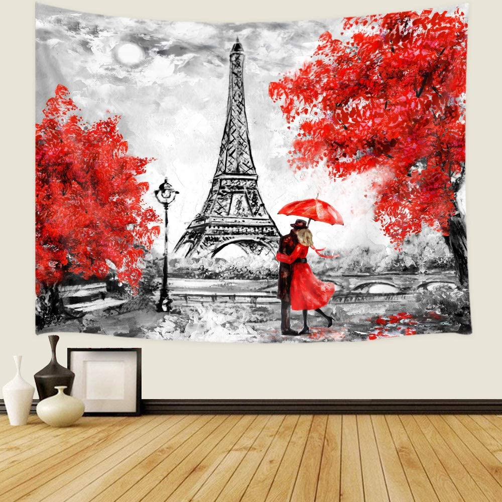 JAWO Oil Painting Paris Tapestry Wall Hanging Art Home Decor, 71x60 in, European City Landscape France Eiffel Tower Black White Red Modern Couple Wall Tapestry for Bedroom Living Room College Dorm