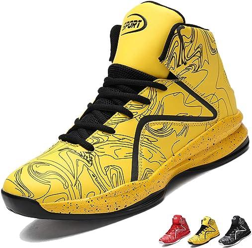 LANSEYAOJI Hombre Zapatillas de Baloncesto Calzado Deportivo Al Aire Libre Moda High-Top Sneaker Antideslizante Zapatillas de Deporte Ligeros Zapatos para Correr Transpirable Lace Up,EU39-45: Amazon.es: Zapatos y complementos