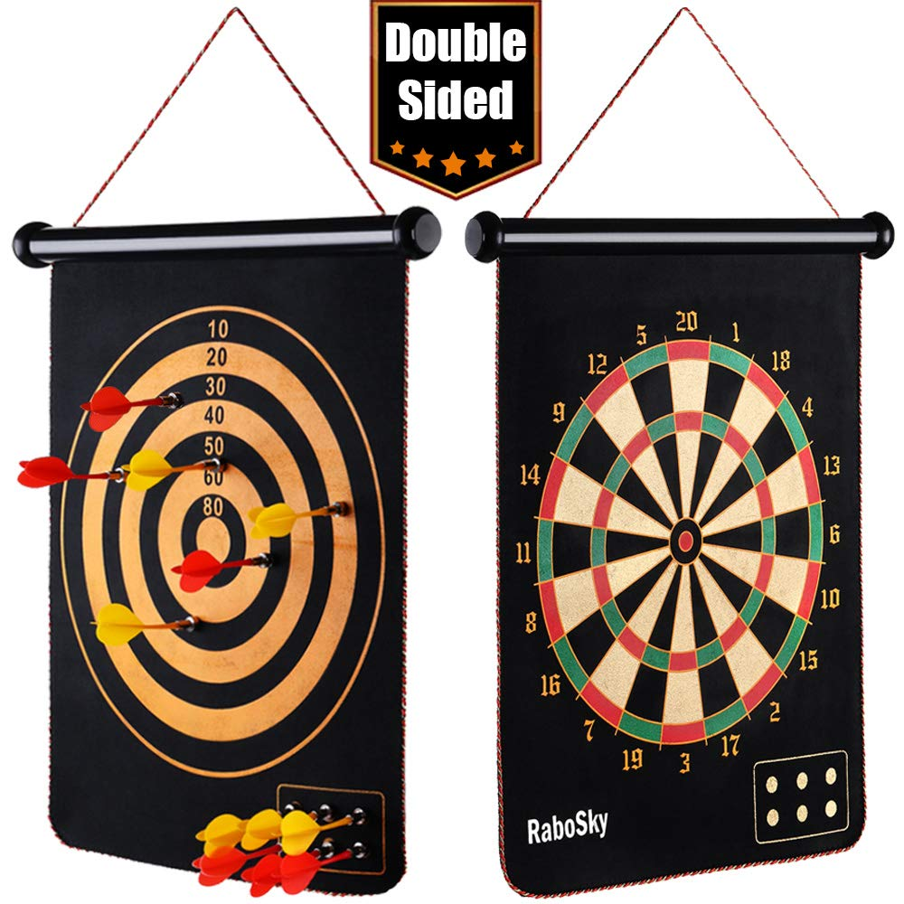Rabosky Magnetic Dart Board for Kids, Indoor Outdoor Board Games Set, Best Toy Gifts for Boys, Include 12 Darts