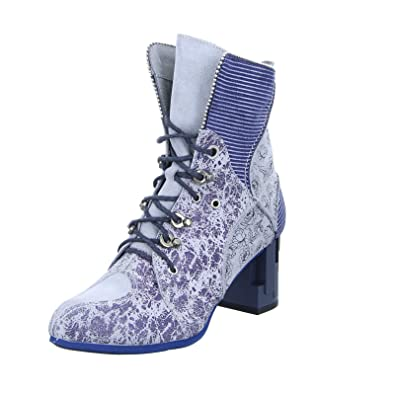 Maciejka Damen Stiefelette 03726 0300 3 Schnürstiefelette Reißverschluss, Blumenmuster Abstrakter Blockabsatz Blau Grau (Blue Light Grey) 1760365031