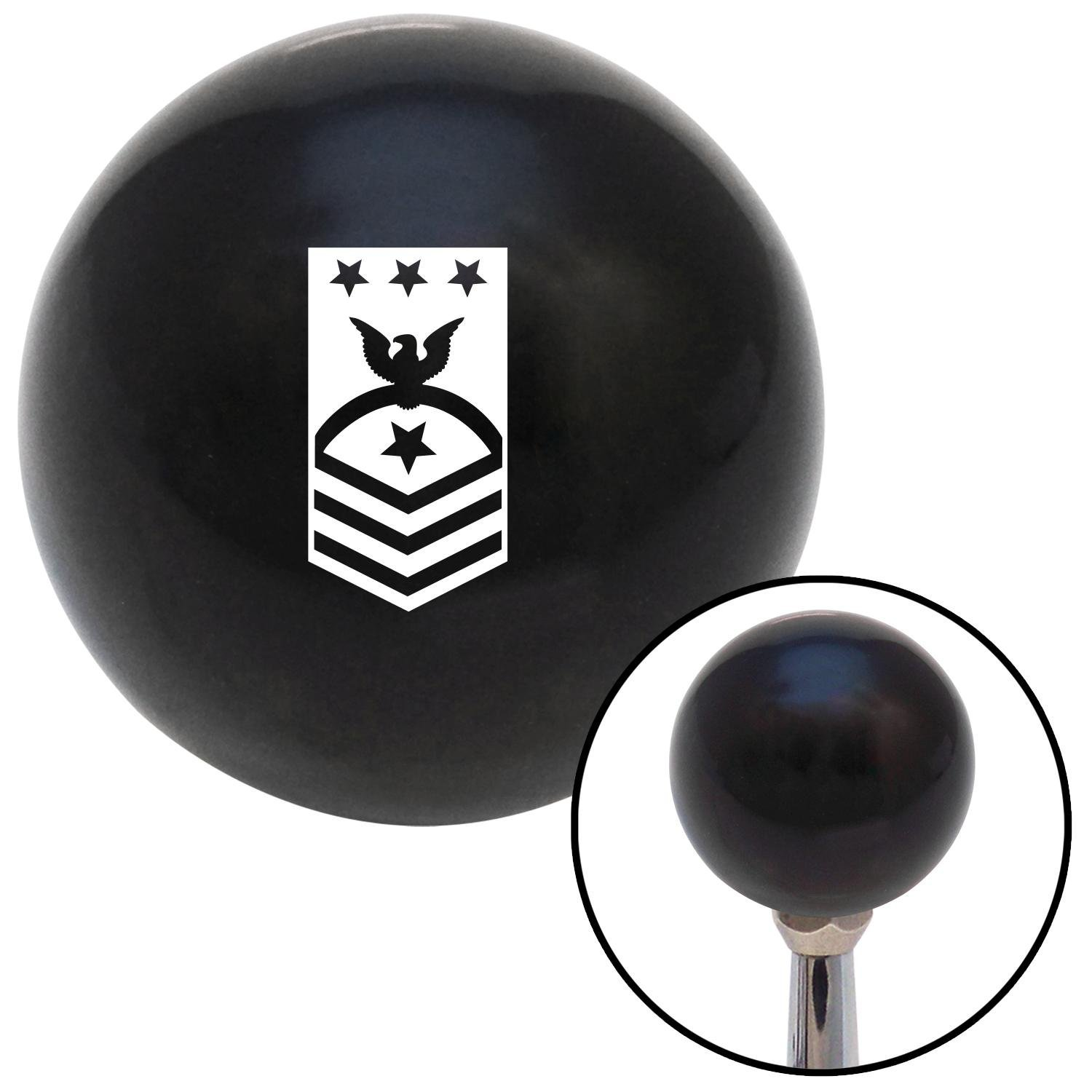 White Master Chief Petty Officer of The Navy American Shifter 107060 Black Shift Knob with M16 x 1.5 Insert