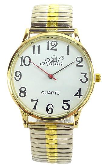 Reloj De Hombre De Mujer Relojes grandes números plata oro reloj de pulsera Flex de reloj de pulsera con fecha y correa de acero blanco plata oro: ...