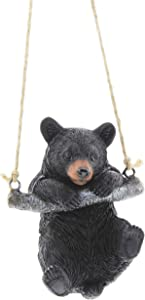 Playful Resin Black Bear on a Rope Hanging Figurine (Swinging)
