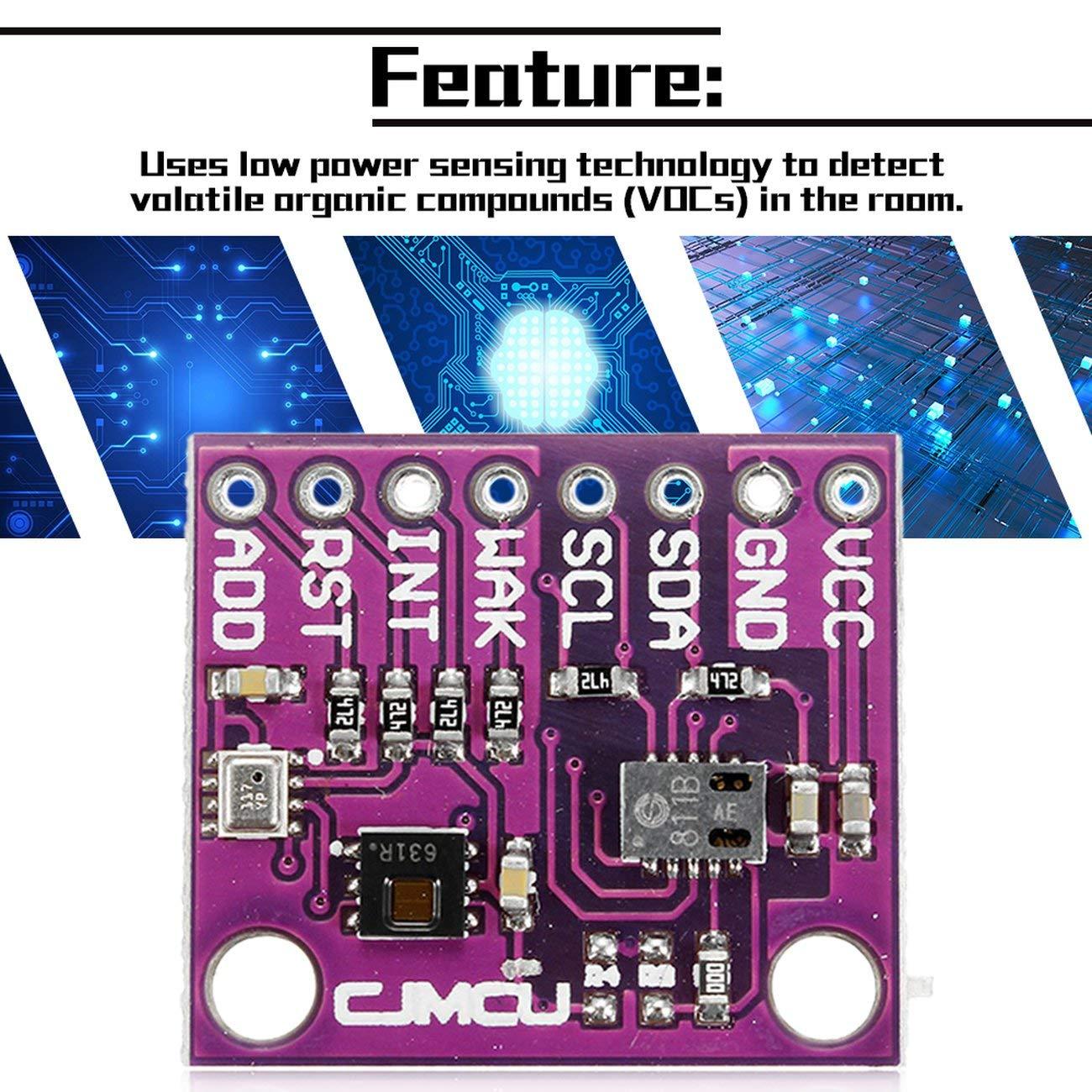 Elviray 8128 CCS811 HDC1080 BMP280 Hochpr/äziser CO2-Luftqualit/ätssensor