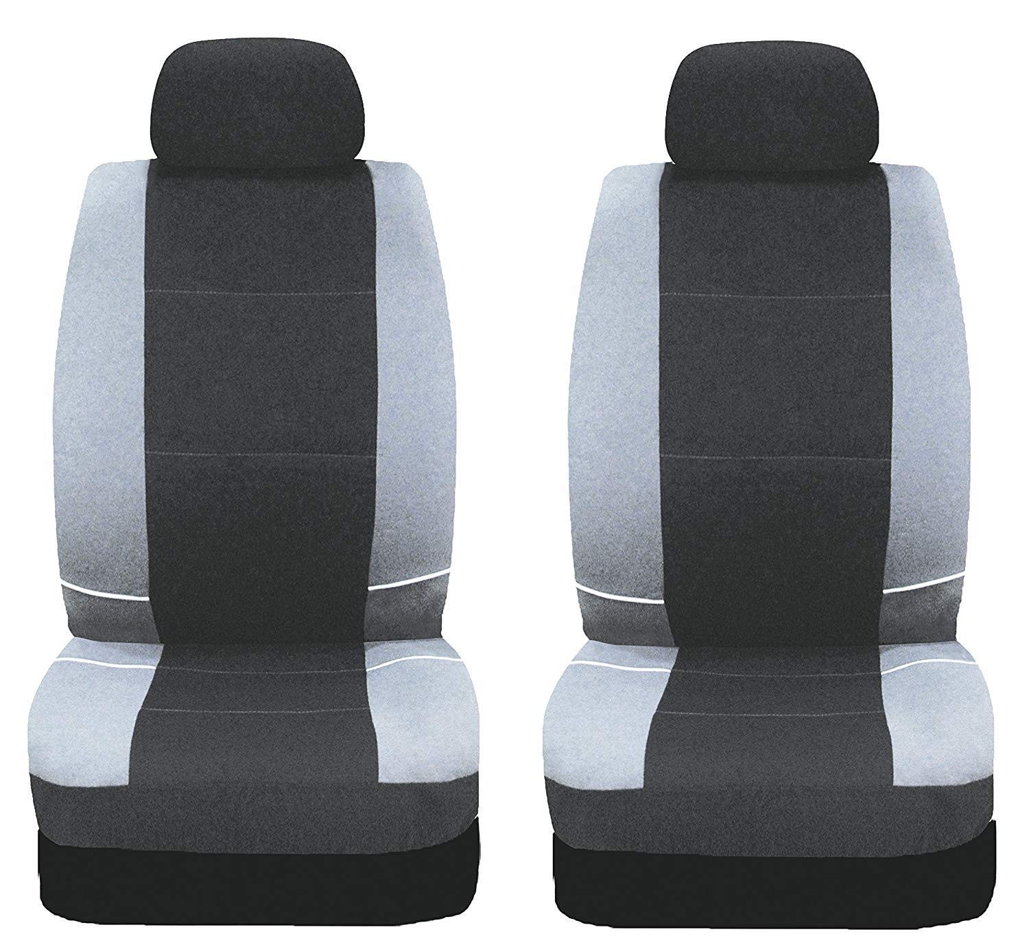 UKB4C Black /& Grey Steering Wheel Cover /& Front Seat Cover Set Washable Airbag Safe Full Protection