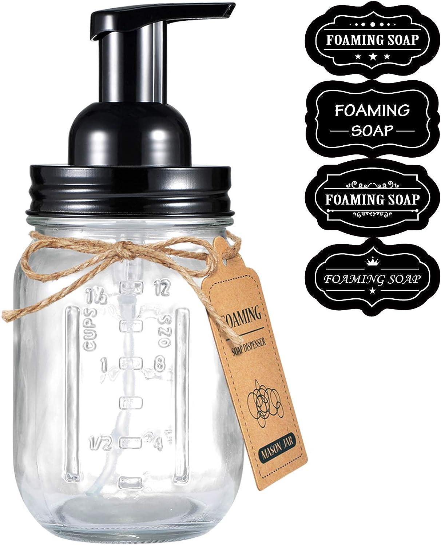 Mason Jar Foaming Soap Dispenser - Rustproof Stainless Steel Lid / BPA Free Pump,With Chalkboard Labels - Rustic Farmhouse Decor Hand Soap Dispenser for Bathroom Vanities,Kitchen Sink,Countertops