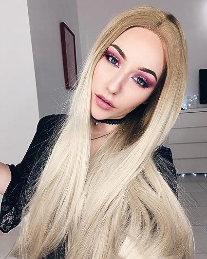 musegetes Ombre marrón peluca Lace Front sintético recto para las mujeres negras
