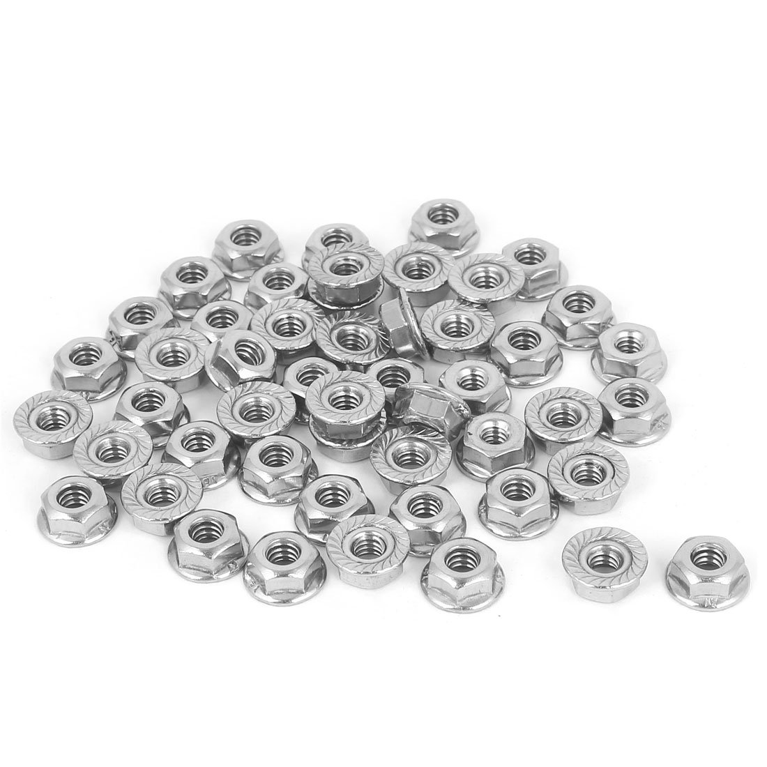 Uxcell a16062700ux0745 Flange Lock Nuts 3/16''-24 304 Stainless Steel Hex Serrated Flange Lock Screw Nuts 50 Pcs