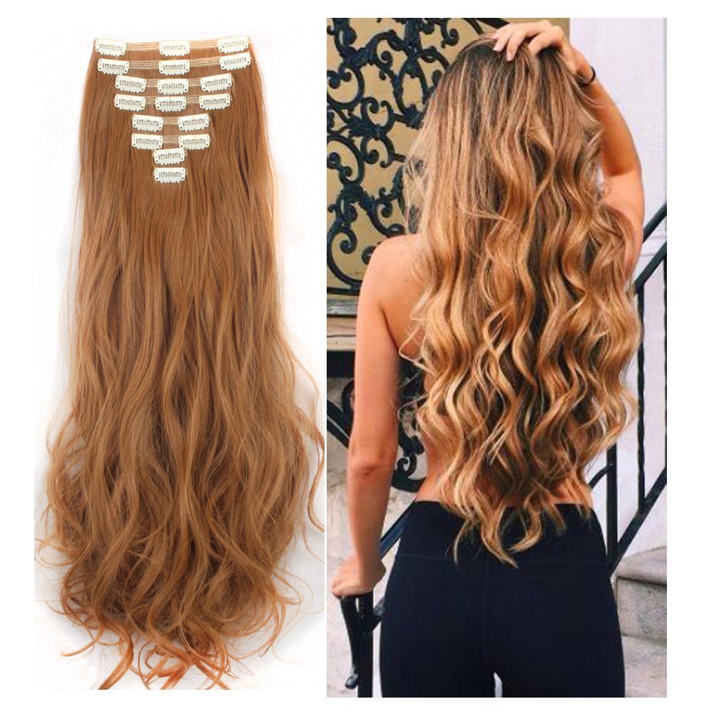 Haironline 8Pcs 18 Clips 23-24 Inch Thick Curly Straight Full Head Clip in on Double Weft Hair Extensions T-J8S-5