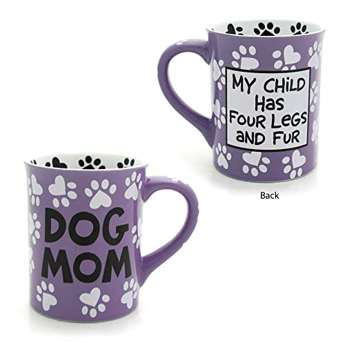 Dog mom mug with messages on back and front. Great gift for dog moms!