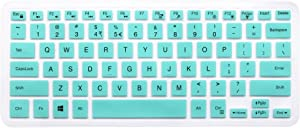 "Silicone Keyboard Skin for Dell Inspiron 13 5000 i5368 i5378 i5379, Dell Inspiron 13 7373 7375 7368 i7368 i7378, 15.6"" Dell Inspiron 15 i5568 i5578 5579 7569 7579 Laptop [Without Numeric keypad] Mint"
