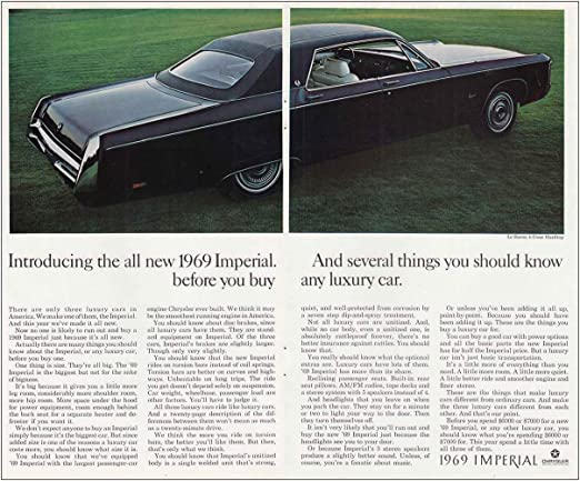 Amazon Com Relicpaper 1969 Chrysler Imperial Several Things You Should Know Chrysler Print Ad Posters Prints