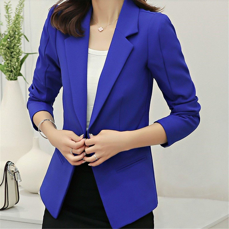Shining4U Autumn Jackets Women Long Sleeve Single Button Female New Chaquetas 7 colors Mini Blazer Feminino at Amazon Womens Clothing store: