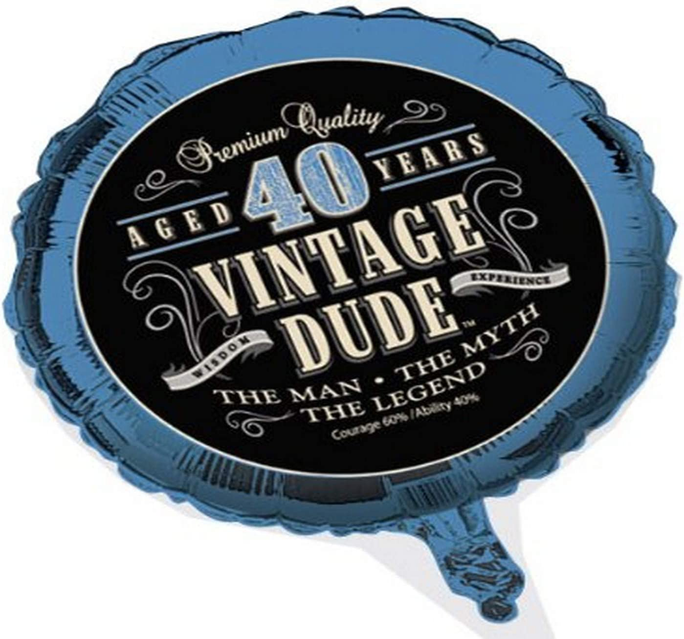 Creative Converting Vintage Dude 40th Birthday 2-Sided Round Mylar Balloon