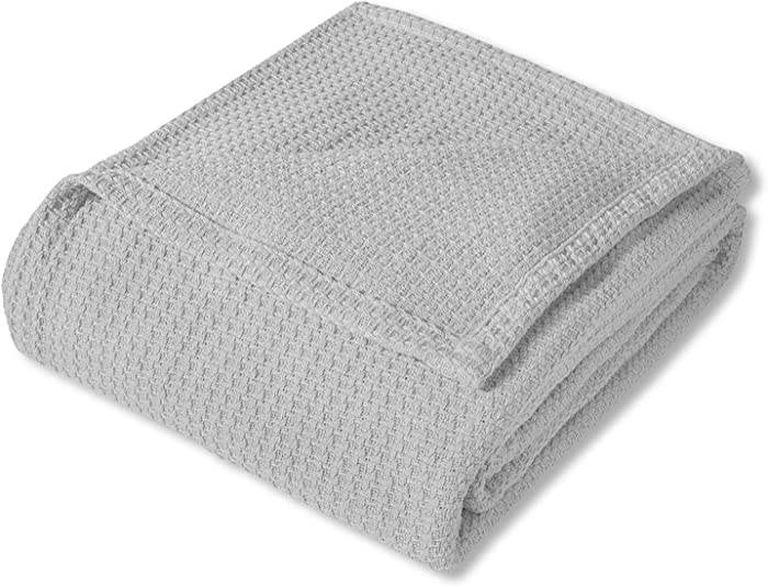 Sweet Home Collection 100% Fine Cotton Blanket Luxurious Basket Weave Stylish Design Soft and Comfortable All Season Warmth, Full/Queen, Silver