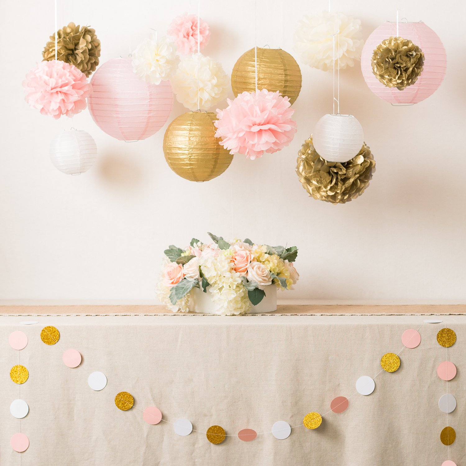Ling's moment Pink and gold Party Decorations Pom Poms Flowers Kit +Circle paper Garland + Tissue Paper lantern for 1st birthday decorations Kids Birthday Bridal Shower Baby Shower wedding