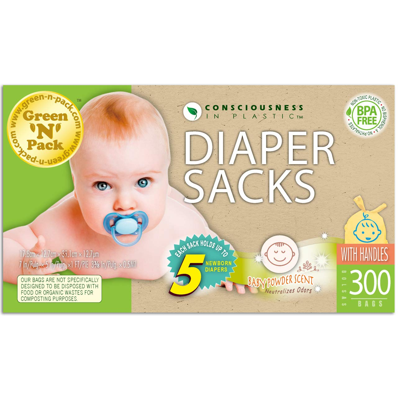 Green N Pack Nappy Easy-Tie Scented Baby Diaper Sacks, 300 Count Nappy300
