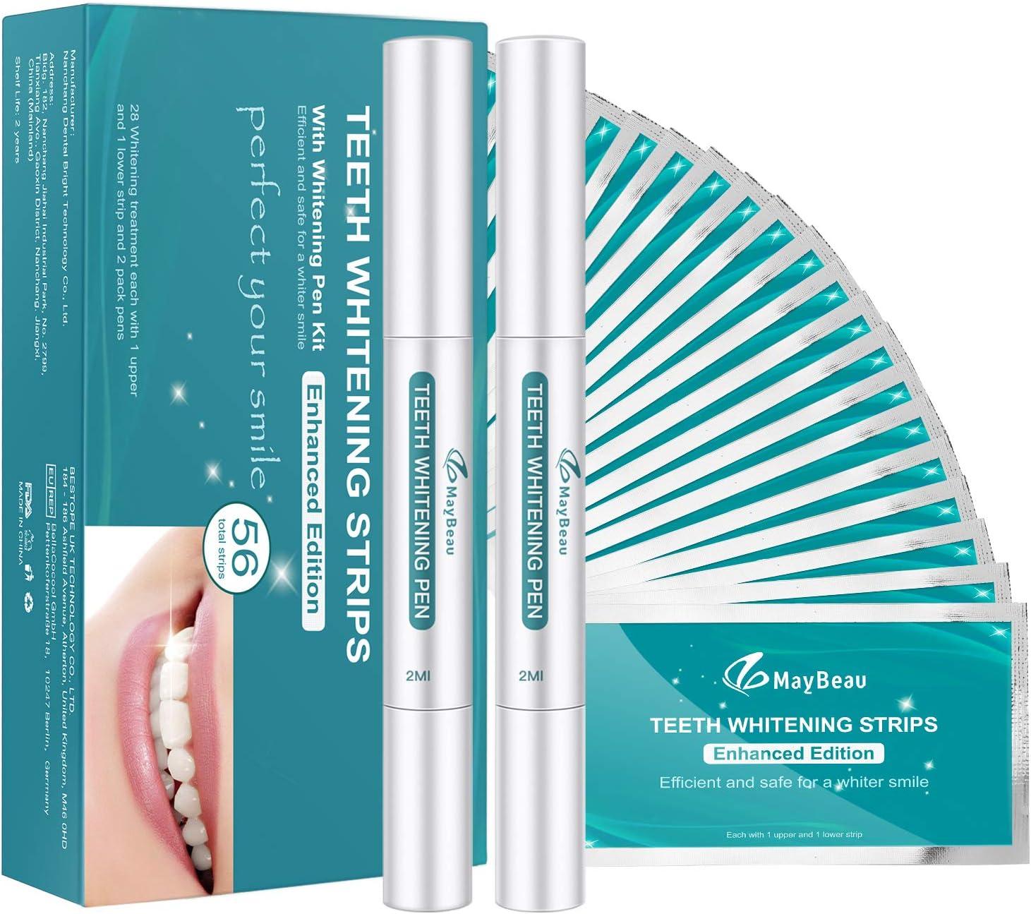 Platz 2 – MayBeau White Strips Teeth Whitening Kit Bleaching Stripes mit  Zahnaufhellung Stiften