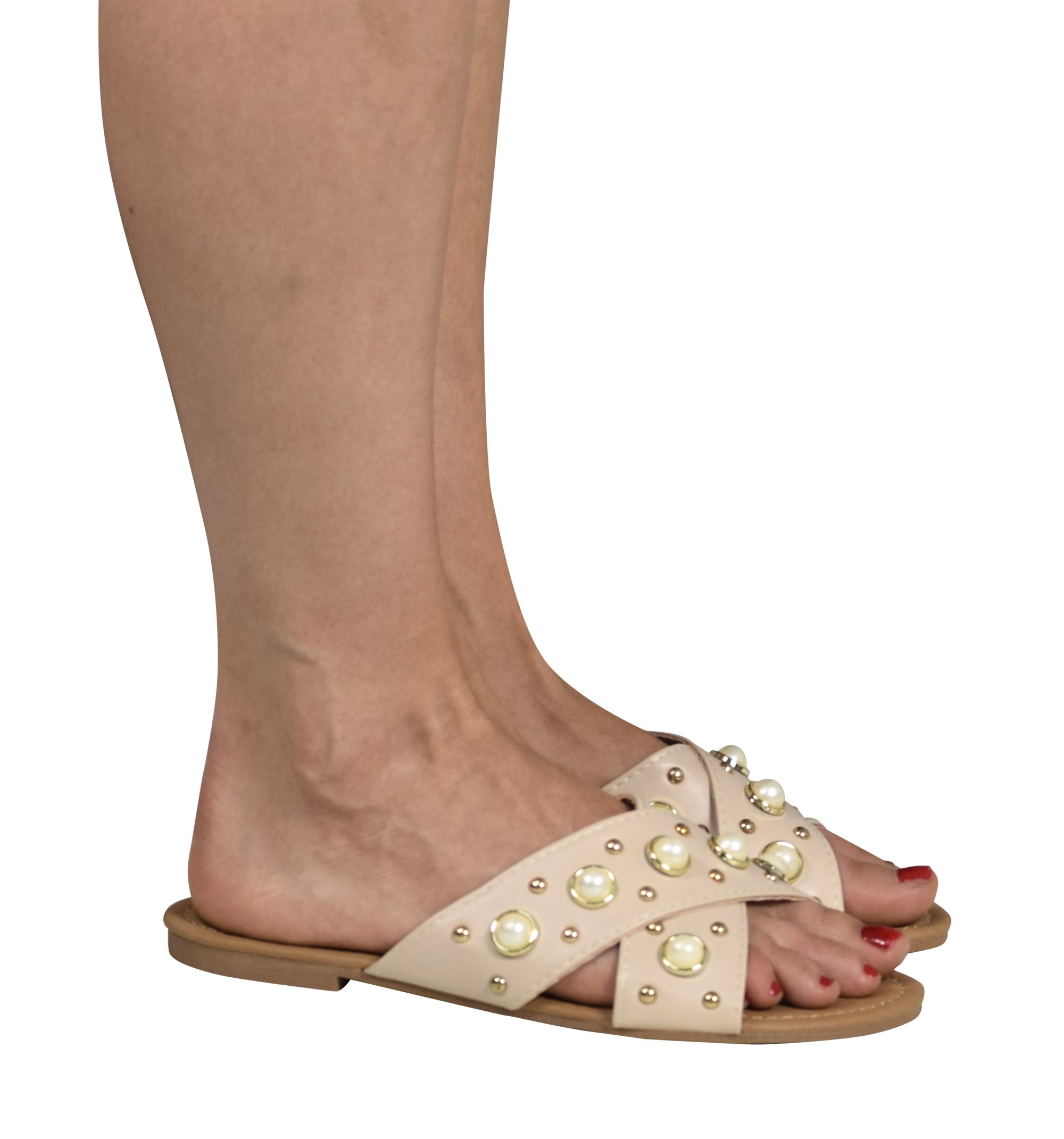 Peach Couture Gia Beaded Pearl Studded Slip On Flats Slides Sandals