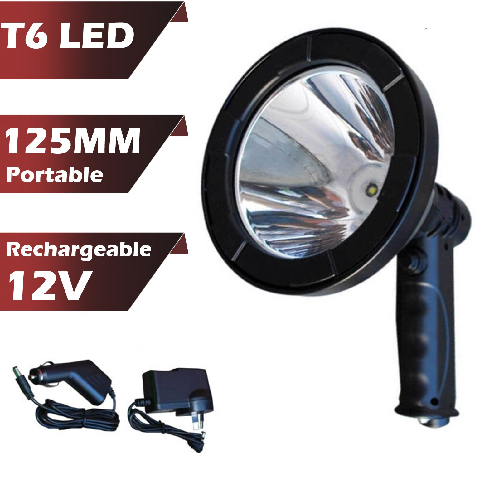 "Hand Held Spotlight Rechargeable T6 LED 5"" 2500lm Ultra Bright for Emergency Search Work Boats Off-road Vehicles"