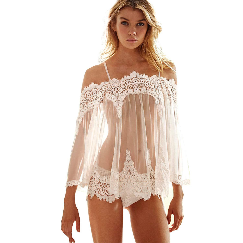 085363eb2 Amazon.com  JFLYOU Women White Lace Lingerie Loose See-Through Nightgown  Underwear Sleepwear  Clothing