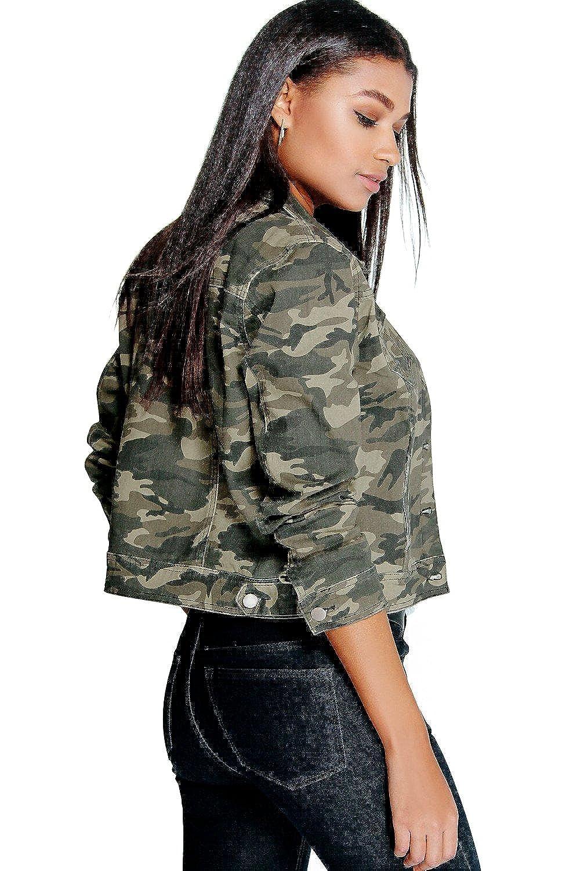 Jeansjacke Stil Camouflage Boyfriend Damen Khaki Im Ally LGqMVSUpz