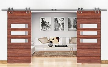 bd-hs # herradura de acero con revestimiento de polvo estilo moderno granero madera Hardware de la puerta deslizante pista Kit para almacenamiento, sala de lavandería, Master, Banos, oficina, persianas, alta movilidad zonas: