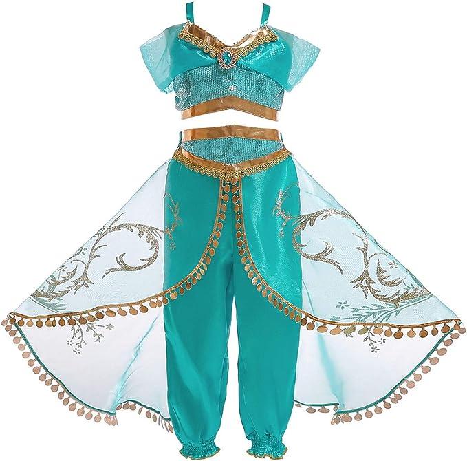 YOSICIL Disfraz Princesa Jasmine niña Disfraz de Princesa árabe ...
