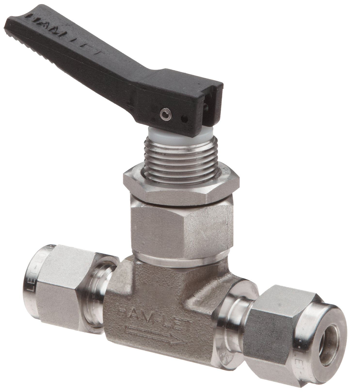 Ham-Let H1200 Series Stainless Steel 316 Toggle Valve, Inline, 1/4'' Let-Lok Fitting by Hamlet (Image #1)